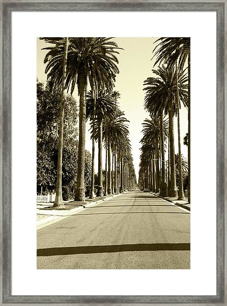 Grayscale Image Of Beverly Hills Framed Print