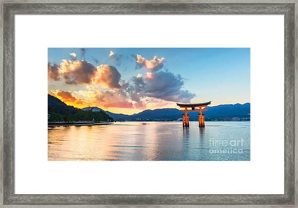 Great Floating Gate O-torii On Miyajima Framed Print