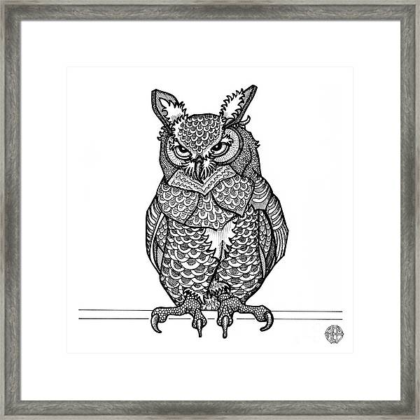 Framed Print featuring the drawing Great Horned Owl by Amy E Fraser