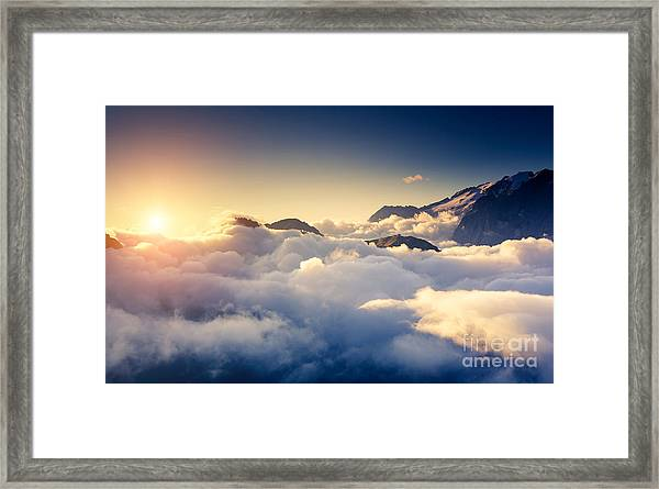 Great View Of The Foggy Val Di Fassa Framed Print