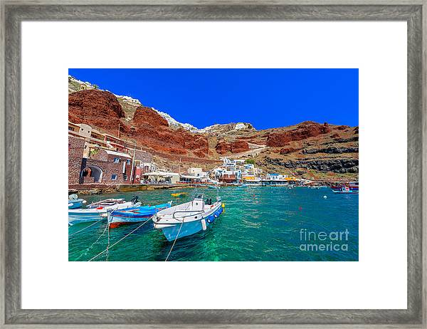 Greece Santorini Island In Cyclades Framed Print