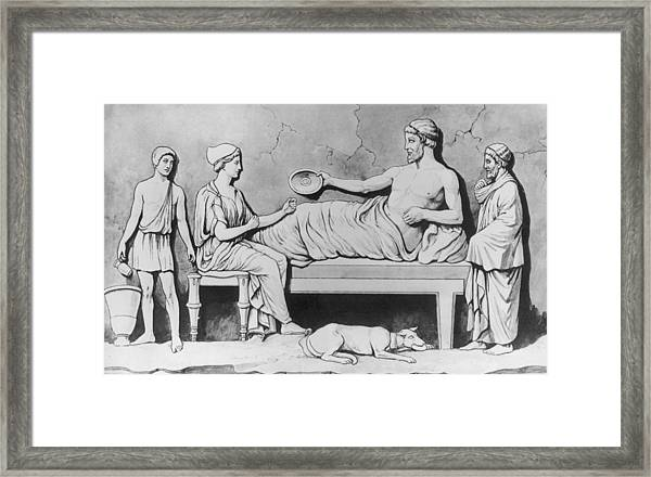 Greek Family Meal Framed Print by Hulton Archive