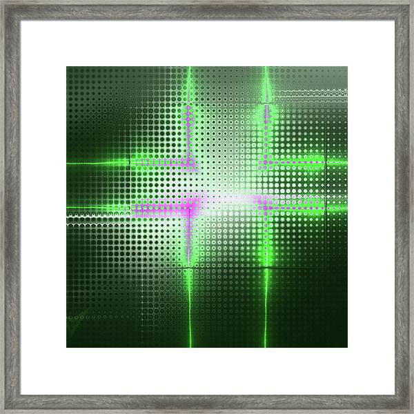 Green Aluminum Sparkling Surface. Metallic Geometric Abstract Fashion Background. Framed Print
