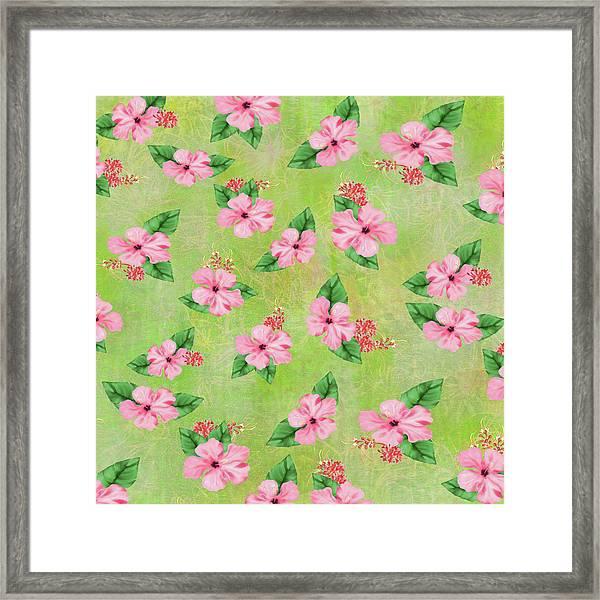 Green Batik Tropical Multi-foral Print Framed Print