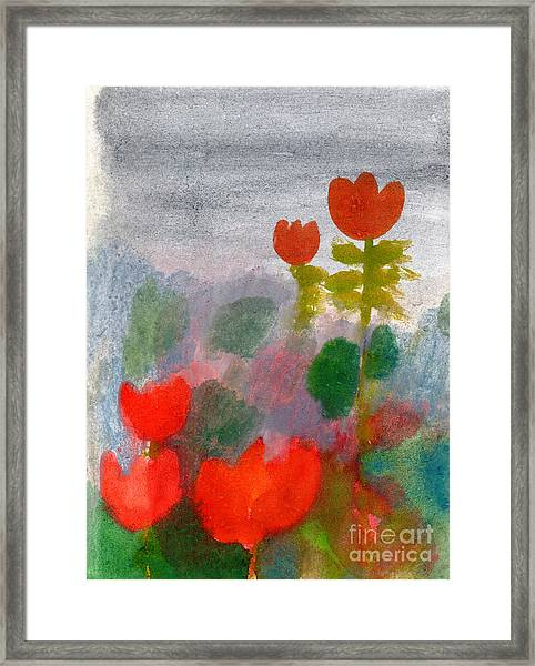 Green Life. Nature. Flowers. Red Framed Print