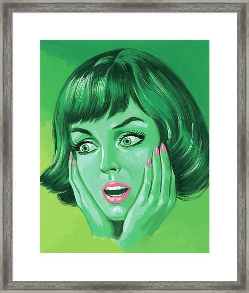 Green Woman Holding Her Face Framed Print