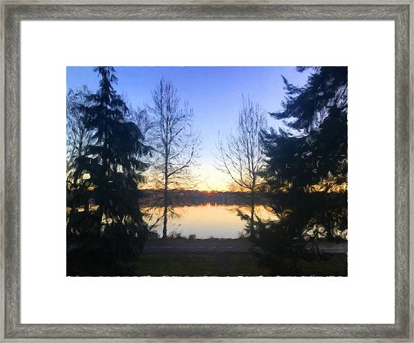 Greenlake Dawn Evergreens Framed Print