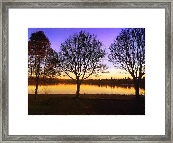Greenlake Dawn Intensity Framed Print