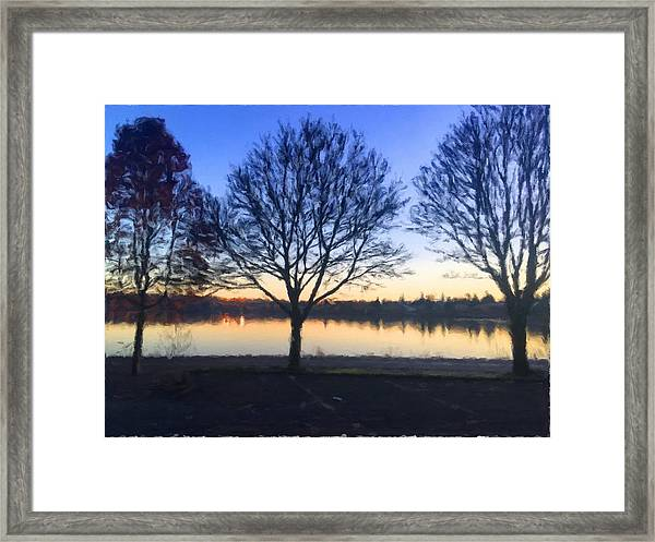 Greenlake Dawn Framed Print