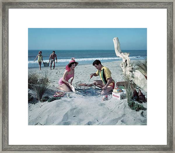Grilling On The Beach Framed Print