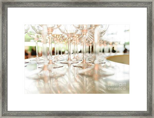 Group Of Empty Transparent Glasses Ready For A Party In A Bar. Framed Print