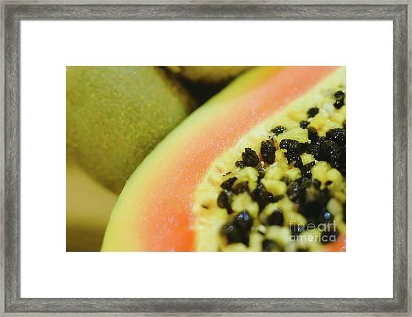Group Of Fruits Papaya, Grape, Kiwi And Bananas Framed Print