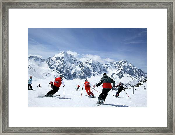 Group Of Skiers On The Slope, Ortler Framed Print