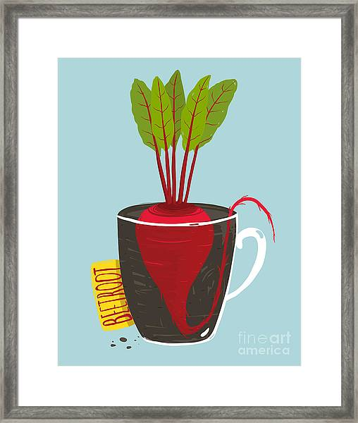 Growing Beetroot With Green Leafy Top Framed Print