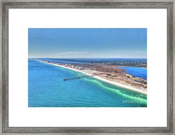 Gsp Pier And Beach Framed Print