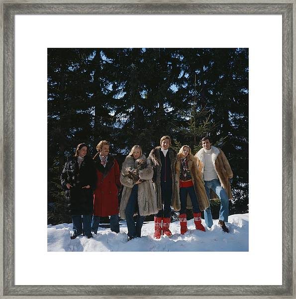 Guests At The Furstenberg Villa Framed Print by Slim Aarons