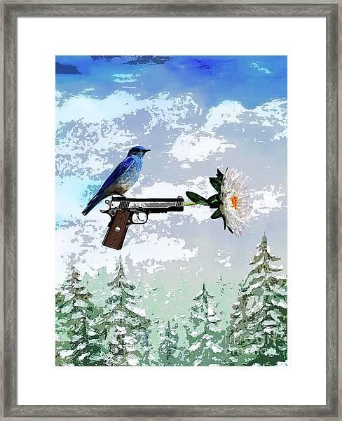 Bluebird Of Happiness- Flower In A Gun Framed Print