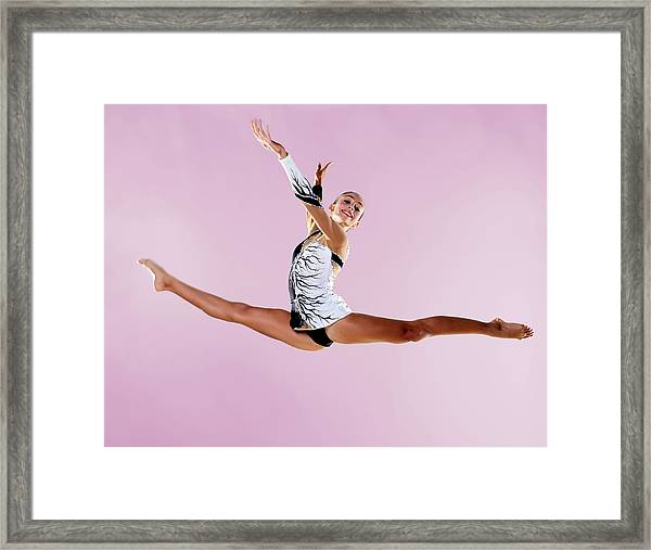 Gymnast, Split, Mid Air, Black And Framed Print by Emma Innocenti