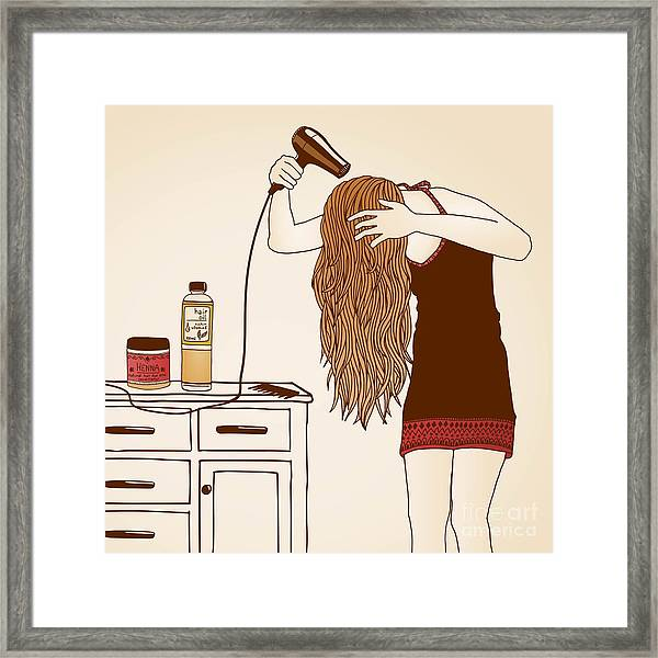 Hair Care Illustration No. 23 Colored Framed Print
