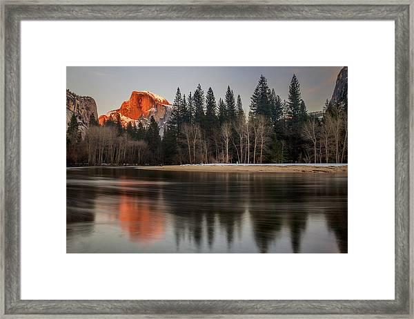 Half Dome Sunset In Winter Framed Print