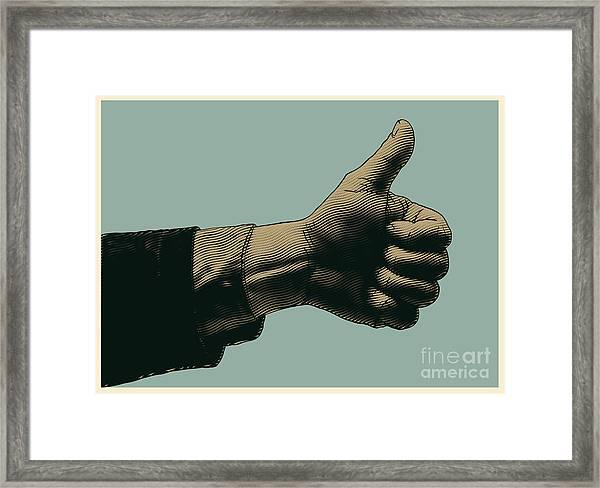 Halftone Thumbs Up Symbol. Engraved Framed Print
