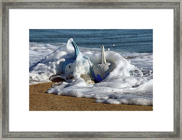 Halloween Blue And White Pumpkins In The Surf Framed Print