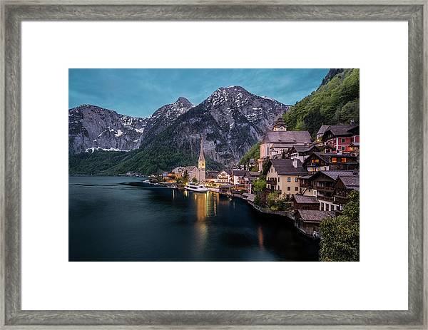 Framed Print featuring the photograph Hallstatt Village At Dusk, Austria by Milan Ljubisavljevic