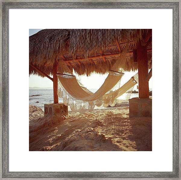 Hammocks In Beach Hut Framed Print