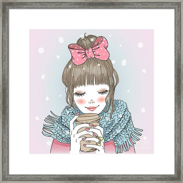 Hand Drawn Beautiful Cute Girl With Framed Print