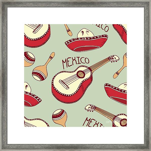 Hand Drawn Mexican Seamless Pattern Framed Print