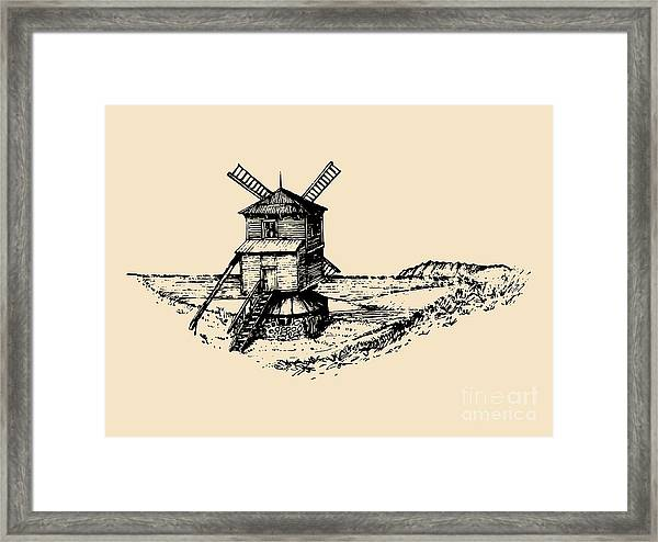 Hand Drawn Sketch Of Rustic Windmill At Framed Print