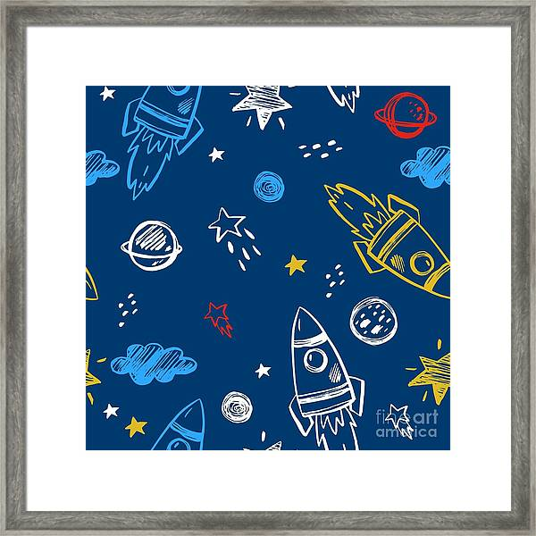 Hand Drawn Space Background Framed Print by Nadezda Barkova