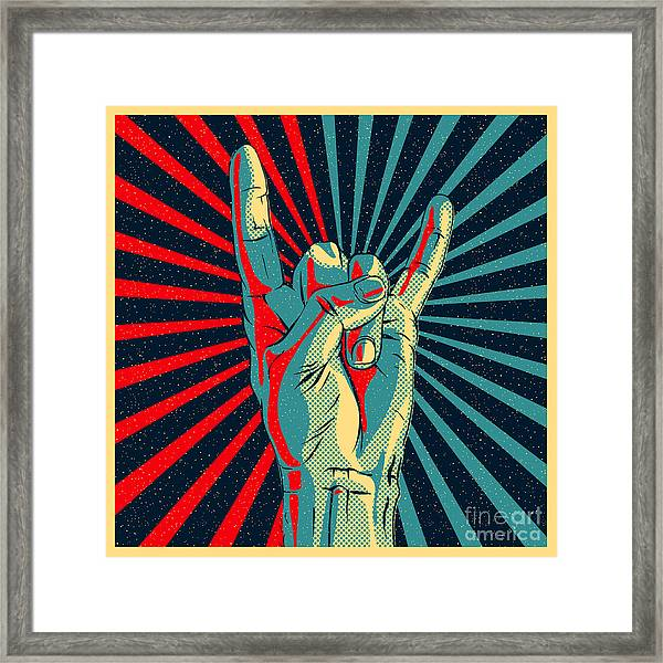 Hand In Rock N Roll Sign, Vector Framed Print