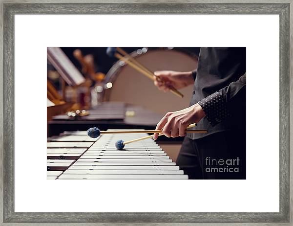 Hands Of Musician Playing The Vibraphone Framed Print