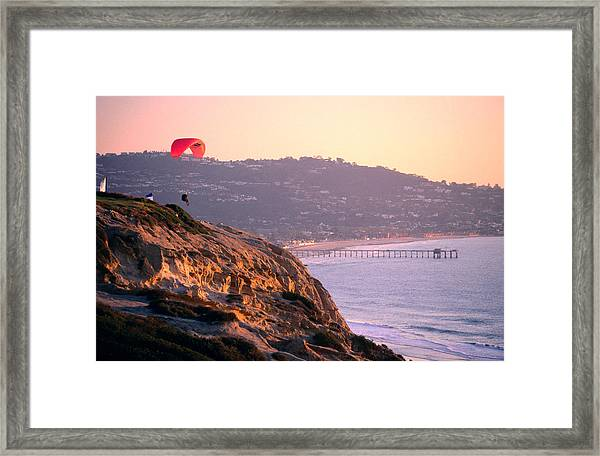 Hang-glider Taking Off, Torrey Pines Framed Print
