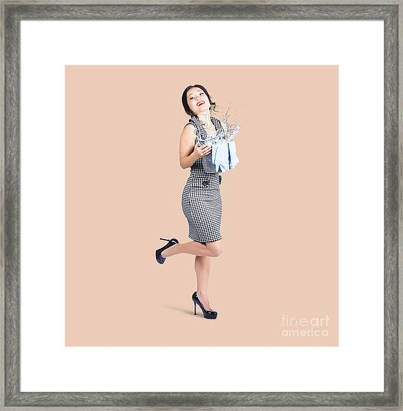 Happy Cleaning Woman Kicking Up Dirt And Grime Framed Print