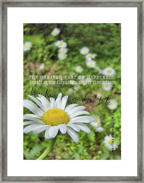 Happy Daisy Quote Framed Print by JAMART Photography