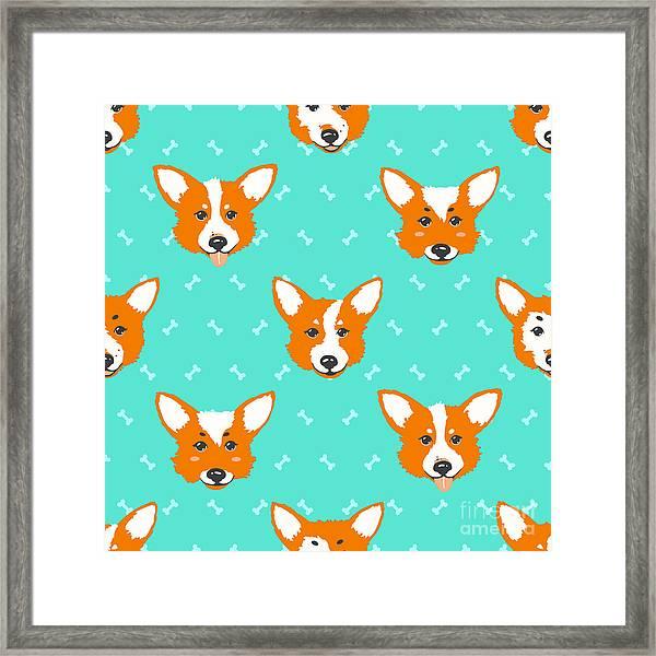 Happy Dog Welsh Corgi Orange And Framed Print
