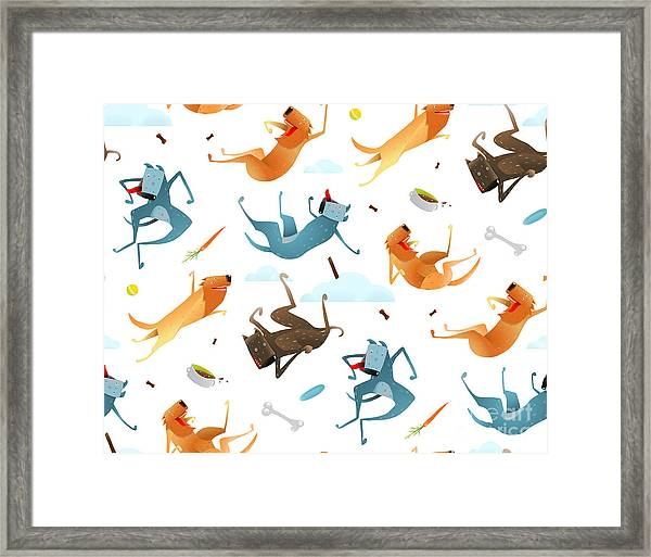 Happy Dogs And Doggy Food Seamless Framed Print
