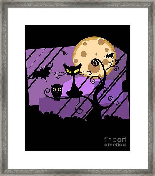 Happy Halloween Cat Framed Print