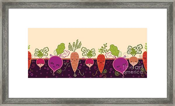 Happy Root Vegetables Horizontal Framed Print