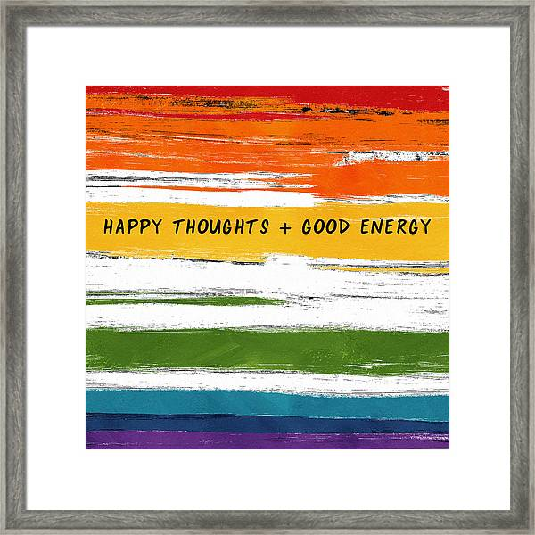 Happy Thoughts Rainbow- Art By Linda Woods Framed Print
