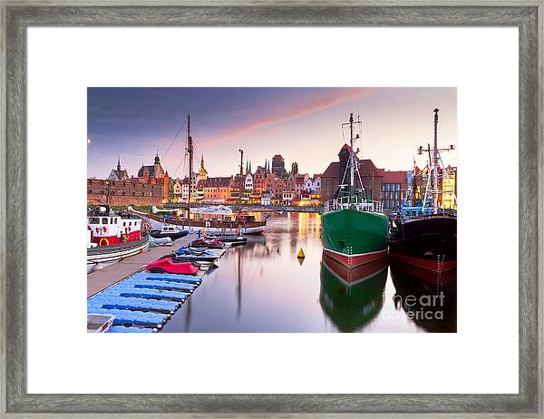Harbor At Motlawa River With Old Town Framed Print