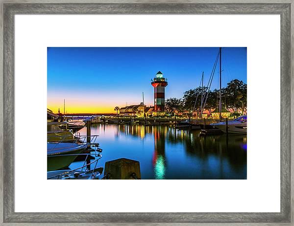 Harbor Town Lighthouse - Blue Hour Framed Print