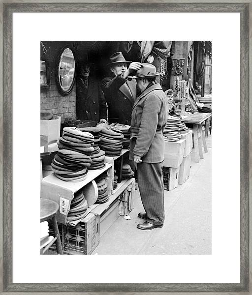 Harry Kregman, Owner Of Hats & Caps, At Framed Print