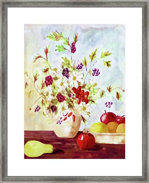 Harvest Time-still Life Painting By V.kelly Framed Print