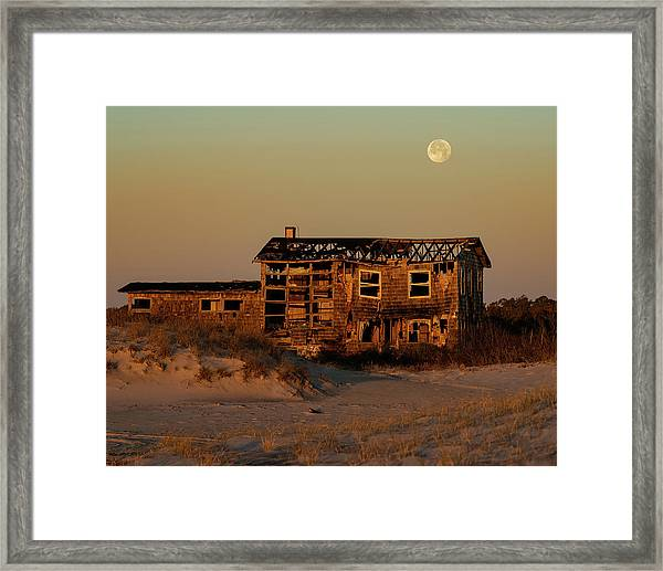 Framed Print featuring the photograph Clements House With Full Moon Behind by William Dickman