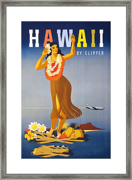 Hawaii Travel Poster Framed Print by Graphicaartis