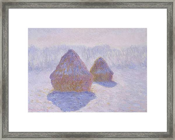 Haystacks, Effect Of Snow And Sun - Digital Remastered Edition Framed Print