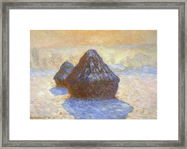 Haystacks, Snow Effect - Digital Remastered Edition Framed Print